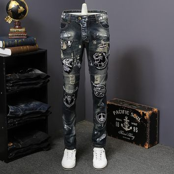 Hip-Hop Embroidery Biker Jeans Torn Ripped Denim 32-38