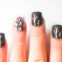 Red Berries Matte Fake Nails, Press on Nails, Acrylic Nails Trees, Black and White Nails
