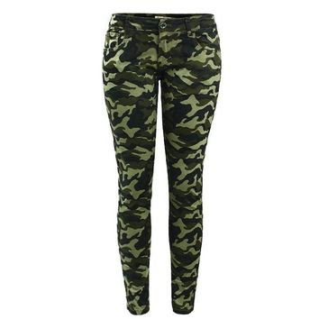 Women`s S-XXXXXL Plus Size Chic Camo Army Green Skinny Jeans For Women Femme Camouflage Cropped Pencil Pants