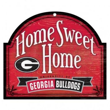 DCCKG8Q NCAA Georgia Bulldogs Wood 10x11 Home Sweet Home Sign