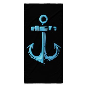 "Anchor Sailing Beach Towel Black Color 30"" x 62"" 100% Polyester"