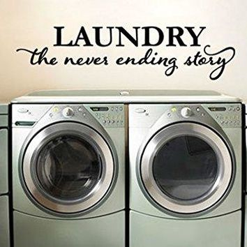 "Lucky Girl Decals Laundry The Never Ending Story Vinyl Wall Decal Sticker Washer Dryer Room 24.3"" w x 6"" h"