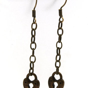 Brass Heart Shaped Faux Lock Dangle Earrings by SeventhChild