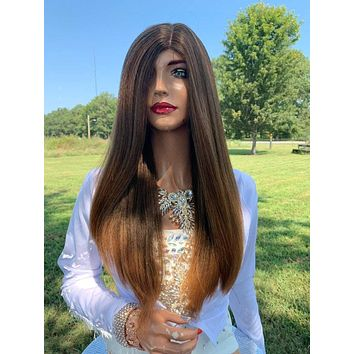 Lisette Natural Hair Wig, Brown to Light Blonde Tips 919 2