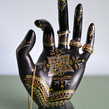Henna Hand Jewelry Display - Hand-Painted Ring Holder, Jewelry Storage, Dresser Decoration. Gold / Silver / Rose Gold.