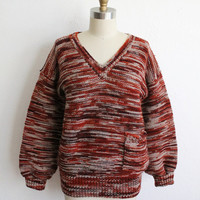 Vintage 70s Hand Knit Orange Brown Striped Oversized Cozy Sweater
