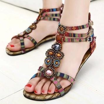 New Roman Summer Flat Sandals Plus Size 41 Beaded Gemstone Women Bohemian Shoes