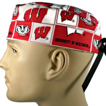 Men's Adjustable Cuffed or Un-Cuffed Surgical Scrub Hat Cap in Wisconsin Badgers Squares