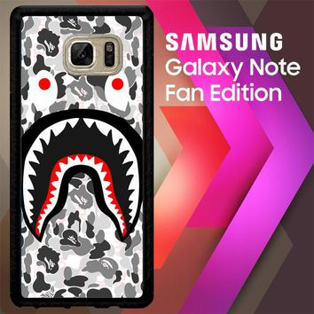 A Bathing Ape White Camo Shark J0025 Samsung Galaxy Note FE Fan Edition Case