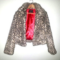 LEOPARD Print FAUX FUR Jacket Cluessless Coat Womens Club Kid Soft Grunge Raver Boho Festival by Majora Size Medium