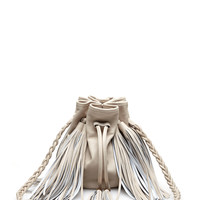 Jasmine Small Fringed Leather Bucket Bag