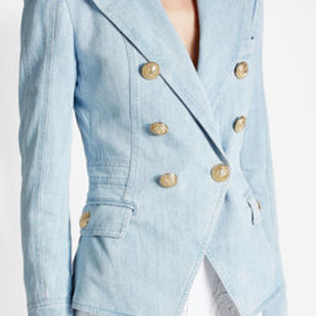Denim Blazer with Embossed Buttons - Balmain | WOMEN | US STYLEBOP.COM