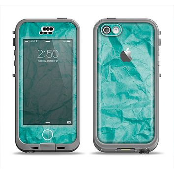 The Crumpled Trendy Green Texture Apple iPhone 5c LifeProof Nuud Case Skin Set