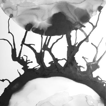 "A3 Contemporary Original Modern Abstract Black & White Ink Wash Painting 11.7x16.5 "" Uncleared 1255"""