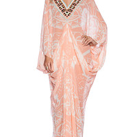 Pia Pauro Ladies Embroidered Printed Kaftan in Pink