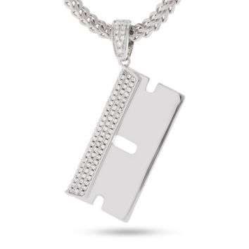 The White Gold Barber Shop RZR Blade Necklace