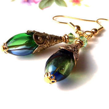 Blown Glass Earrings, Emerald Green Blue Earrings, Handmade Beads, Gold Cones, Dangle, Vintage Style Elegant Earrings