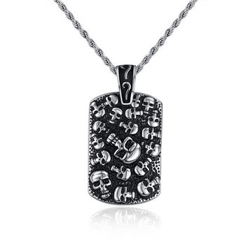 Sale Hot Items Punk Mexican Tattoo Stainless Steel Skull Pendants Necklace Charm Men Fashion Jewelry New Arrival Product 2016