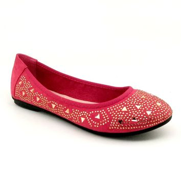 Women's Red Flats with Gold Color Rhinestones
