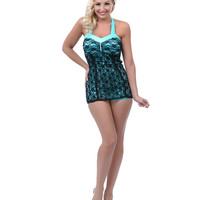Black & Aqua Lace Betty Vintage Swimsuit - Unique Vintage - Prom dresses, retro dresses, retro swimsuits.