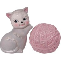 Salt & Pepper Shaker Set - Kitten & Yarn