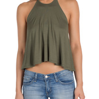 Olive Halter Crop Top