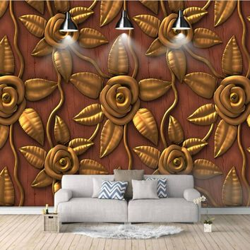 Vintage embossed golden rose Wallpaper for Walls 3d Wall Paper Background Painting Mural Wallpapers Home Improvement Decorate