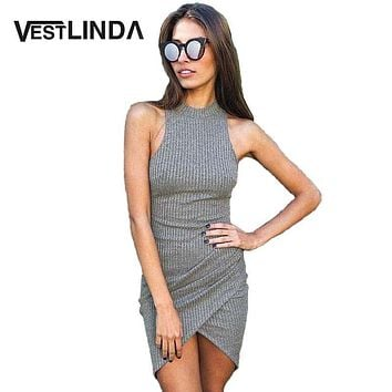 VESTLINDA Summer Sexy Women Knitted Dresses Ladies Sleeveless Wrap Beach Mini Short Dress Bodycon Dress Turtleneck Robe Femme