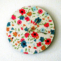 Wall Clock, Shabby Chic, Decor and Housewares, Home Decor, flower Decor, Home and Living, Colorful Flowers, Unique Gift, TAGT