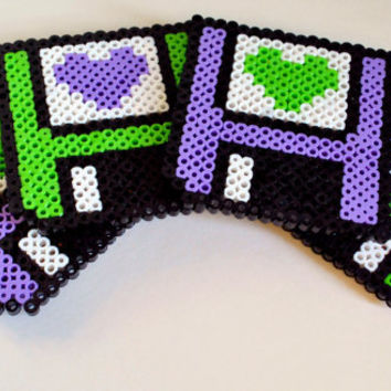 Floppy Disc Hearts Perler Bead Sprite Coaster Set