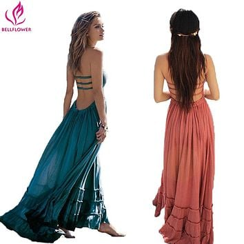 BellFlower Summer Dress Women Bohemian Sleeveless People Sexy Boho Dresses Backless Party Hippie Bandage Beach Dress Vestidos