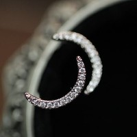 Crescent Moon Rhinestone Earrings