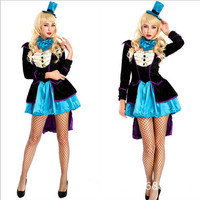 Fascinating Flapper Costume Sequin Flapper Cosplay Dress Black And Blue Flapper Halloween Fancy Dresses Costumes