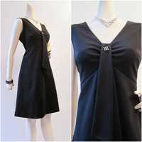 60s Dress Vintage LBD Jeweled Empire Waist Fit and by voguevintage