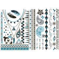 Turquoise Metallic Temporary Tattoos Gold One Size For Women 25811862101