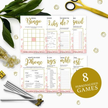 Pink and Gold Bridal Shower Games Package-Bundle 8 DIY Printable Bridal Shower Games-Golden Glitter Floral Personalized Bridal Shower Games