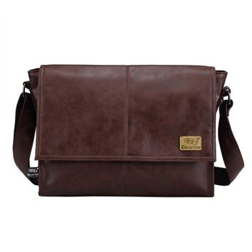 Designer Handbags Men's 14 inch Laptop Bag Male PU Leather Messenger Bag