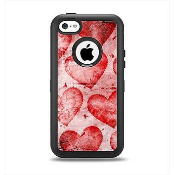 The Grunge Dark & Light Red Hearts Apple iPhone 5c Otterbox Defender Case Skin Set