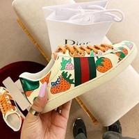 Gucci Strawberry Printed Leather Sports Shoes