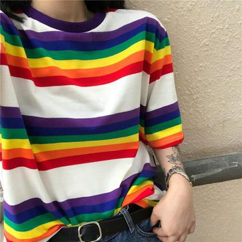 Rainbow Stripe Print T-Shirt Korean Kawaii Round Neck Thin Loose T-Shirt Women Clothes