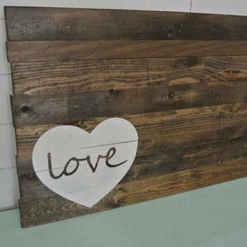 Heart With Love-  Hand Painted Wood Sign, Wedding Guest Book, Sign