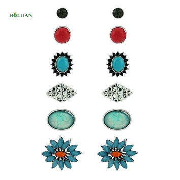 Women marble flower stud earring set supernatural crystal oval rhinestone earring niddle earring bullet shape jewelry mujer gift