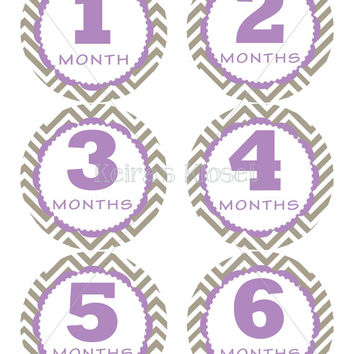 Baby Monthly Stickers, Chevron Baby Girl Monthly Stickers