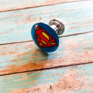Superman Dresser Drawer Knobs Pulls Superhero Cabinet  Knobs Pulls Justice League Superhero Bedroom Superman Logo Dresser Knobs Pulls