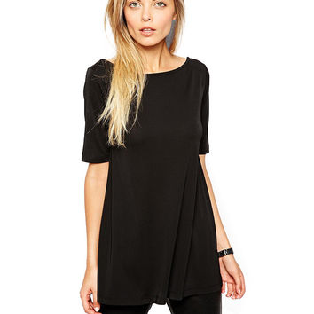 Black Deep V-Cut Back Short Sleeve Top