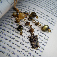 Autumn Owl Bookmark Green and Bronze Beaded Book Thong