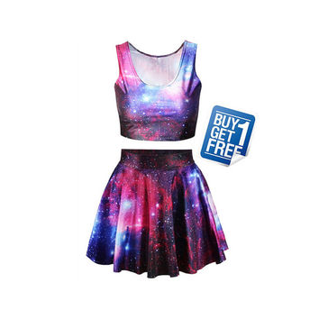 2014 Summer Galaxy Purple Print Skater Skirt Women Skirt Clothing Stars skirts Womens mini skirt B025
