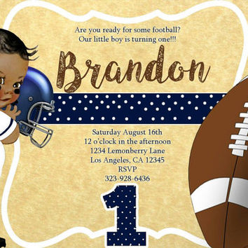 Football vintage baby boy first birthday invitations.  4x6, picture paper, printed and shipped. Toddler, first birthday, vintage, football.