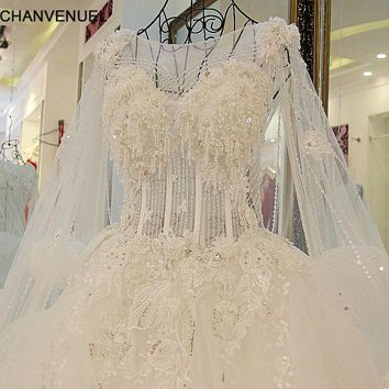 LS58332 Robes De Mariage 2018 Princess Luxury Wedding Dress Tulle Ball Gown Lace Up Back Bling Wedding Dress Crystals Bead