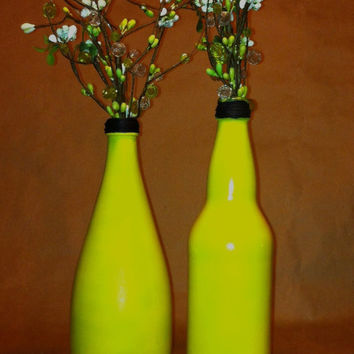 Minimalist Upcycled Airbrush Painted YELLOW Flower Bud Vase, black wrapped top